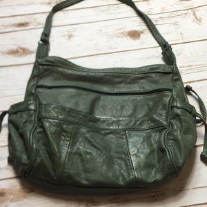 Green Leather Purse 100% Leather Shoulder Bag MINT
